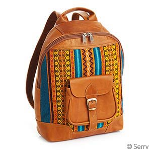 Leather Tapestry Backpack