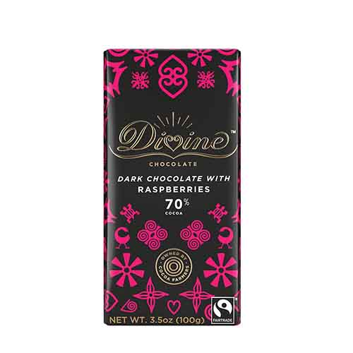 70% Dark Chocolate Raspberries Large Bar Case