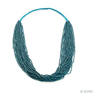Teal Seed Bead Necklace