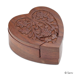 Wood Heart Puzzle Box