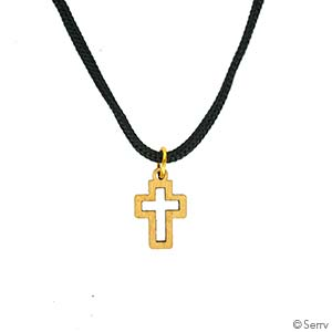Mini Olive Wood Cross Necklace