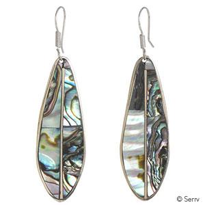 Abalone Long Leaf Earrings