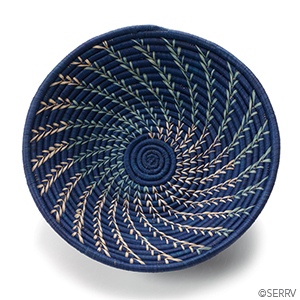 Navy Fern Spiral Splendor Basket