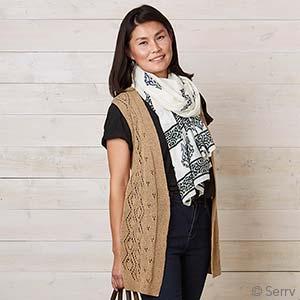 Long Knit Diamond Vest - Camel