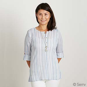 Striped Crinkle Top