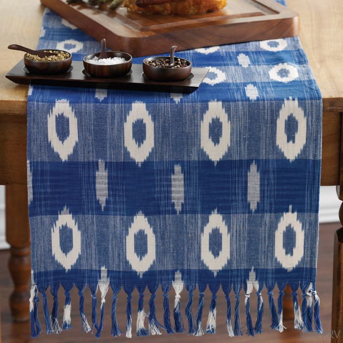 Nice Blue And White Ikat Table Runner