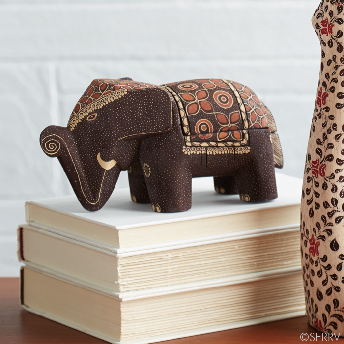 Lucky elephant batik box Elephant home decor items