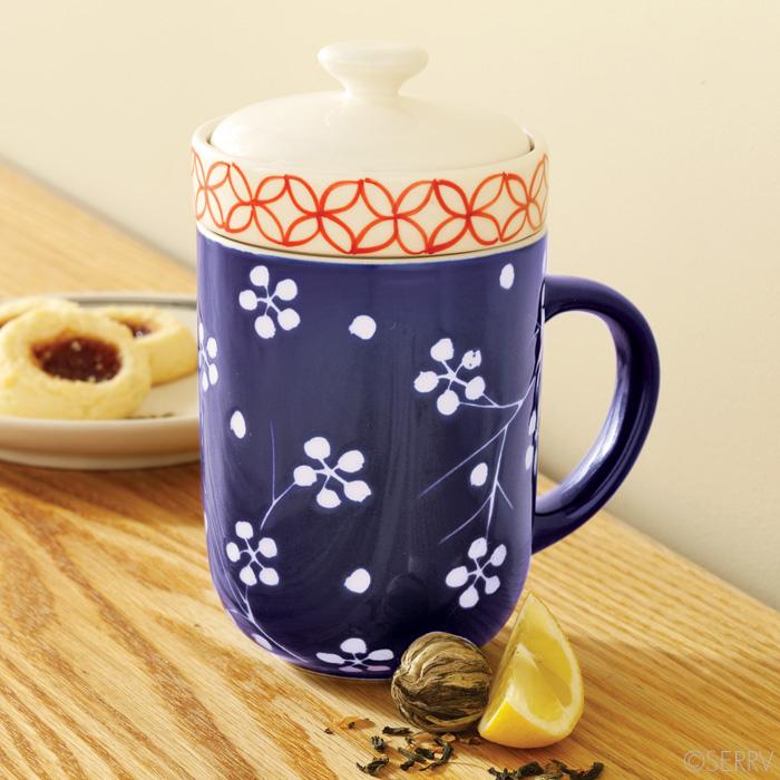 mugs teapots blue floral tea infuser with cup. Black Bedroom Furniture Sets. Home Design Ideas