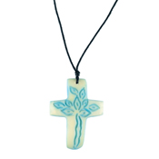Sky Blue Tagua Cross Necklace