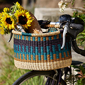 Bolgatanga Bike Basket Cool Stripe