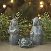 Gray Soapstone Nativity