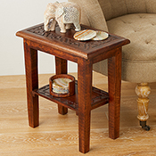 Rangoli Carved Mango End Table
