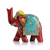 Hand-Painted Wood Elephant