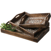 Carved Floral Trays Set