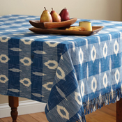 Blue & White Ikat Tablecloth