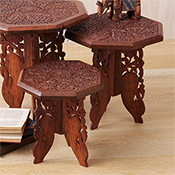 Set of 2 Hand-Carved Tables