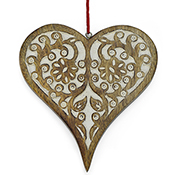 Carved Whitewashed Heart Ornament