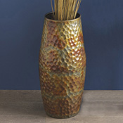 Hammered Iron Floor Vase