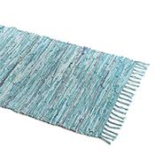 Turquoise Suede Rag Rug - Medium