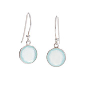 Round Faceted Aqua Drop Earrings