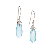 Teardrop Faceted Aqua Drop Earrings
