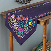 Bright Garden Embroidered Table Runner