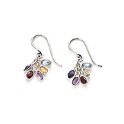 Gemstone Cluster Earrings