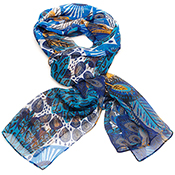 Navy Peacock Scarf