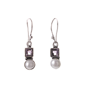 Amethyst & Pearl Earrings
