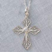 Filigree Swirl Cross Necklace