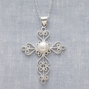 Pearl Heart Cross Necklace