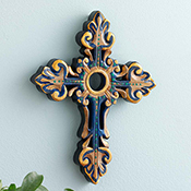 Gilded Navy Wall Cross