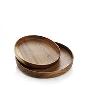 Suar Wood Round Tray Set