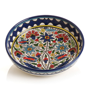 blue hand painted floral dish