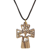 Abstract Tree of Life Cross Necklace