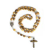 Olive Wood Rosary Beads on Silver Chain