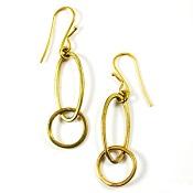 Oval Loops Brass Earrings