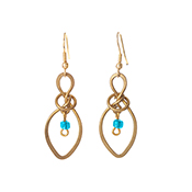 Knotted Aqua Drop Earrings
