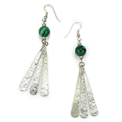 Long Malachite Drop Earrings