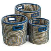 Blue-Weave Nesting Baskets