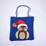 Santa Owl Jute Gift Bag