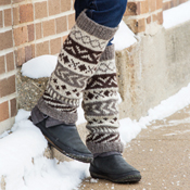 Natural Patterned Leg Warmers