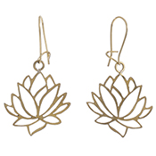 Lotus Cutout Brass Earrings
