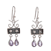Multi Double Drop Amethyst Earrings