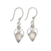 Silvery Moonstone Earrings