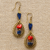 Red Blue Curlicue Earrings