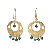Turquoise Drop Disc Earrings