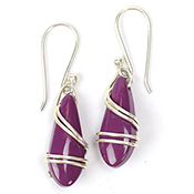 Wrapped Plum Drop Earrings