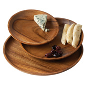 Acacia Set Of 3 Wood Plates