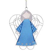 Blue Capiz Angel Ornament